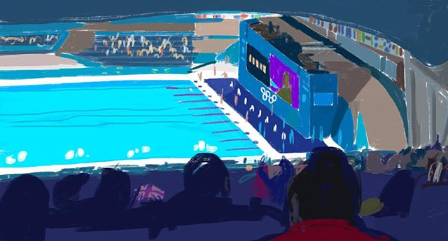 I'm enjoying #olympics #rio2016 memories of #london2012 #ipadart #sketch of #swimming #aquaticcentre
