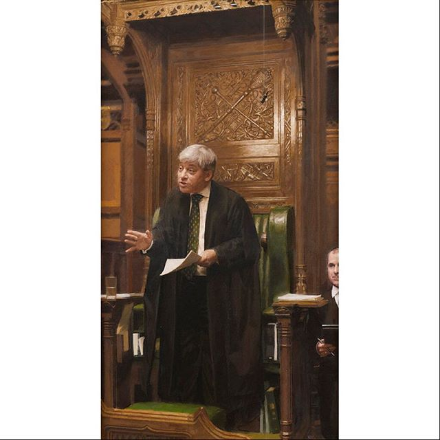 My commissioned portrait of #Speaker John Bercow for the Speaker's House in #housesofparliament #oiloncanvas #2011 #palaceofwestminster #houseofcommons #parliament #actionportrait #debate #gesture #carvedwood #stateroom #politics #politicians #politicalportraits