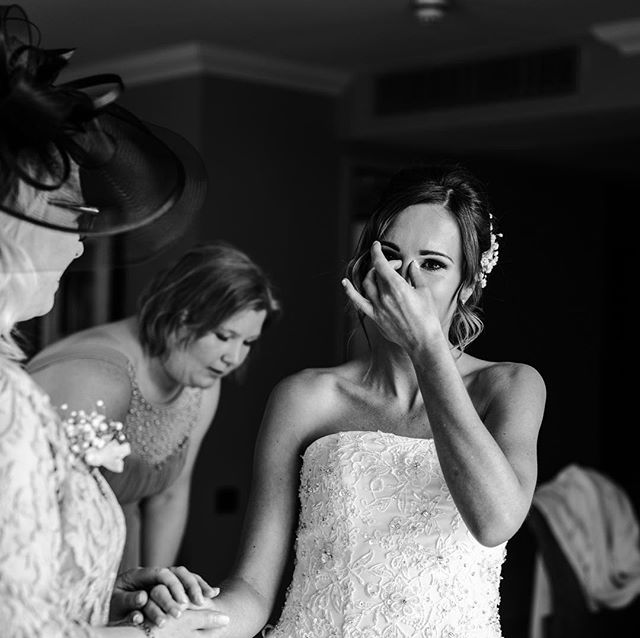 some raw emotion from zoe 🤧#blackandwhite #weddingfeels . . . #weddingphotographer #bridalprep #bridesupnorth #livingnorthweddings  #tearsofjoy #slateandivory #highhousefarmbrewery #firstsandlasts #gettingready #bride #bridetobe #newcastle #newcastleweddingphotography