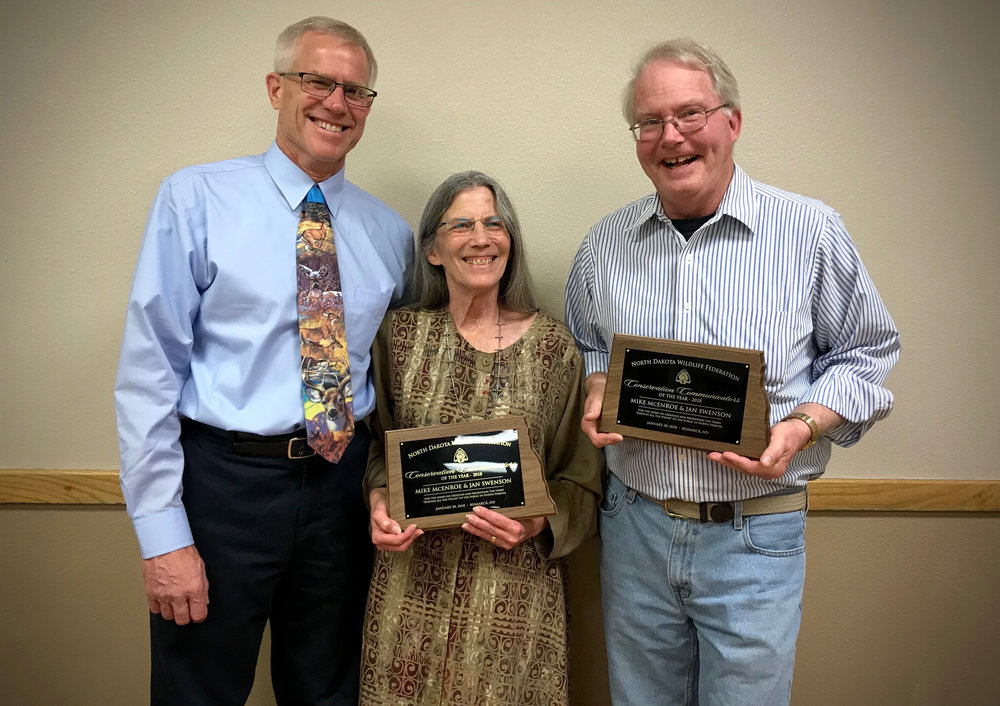 (From left) Wayne Beyer, ND Wildlife Federation President, Jan Swenson, BCA, and Mike McEnroe, ND Wildlife Federation