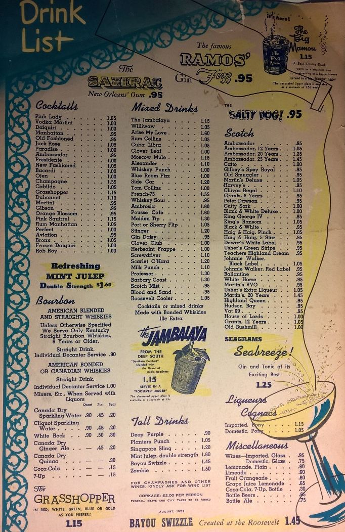 Drink Menu, The Blue Room at the Roosevelt Hotel, New Orleans, August 1959