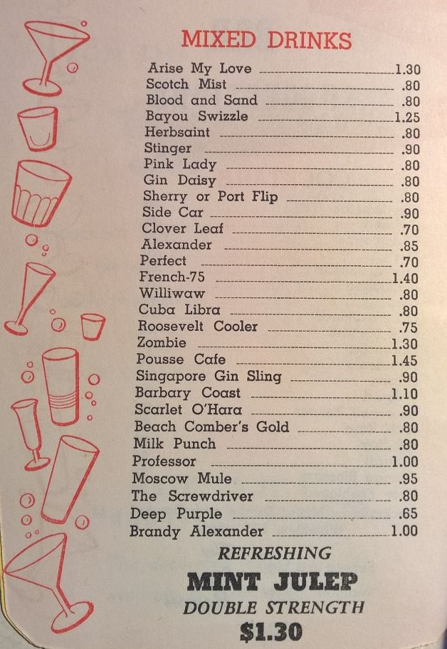 1964 drink list for the Sazarac Room from the Roosevelt