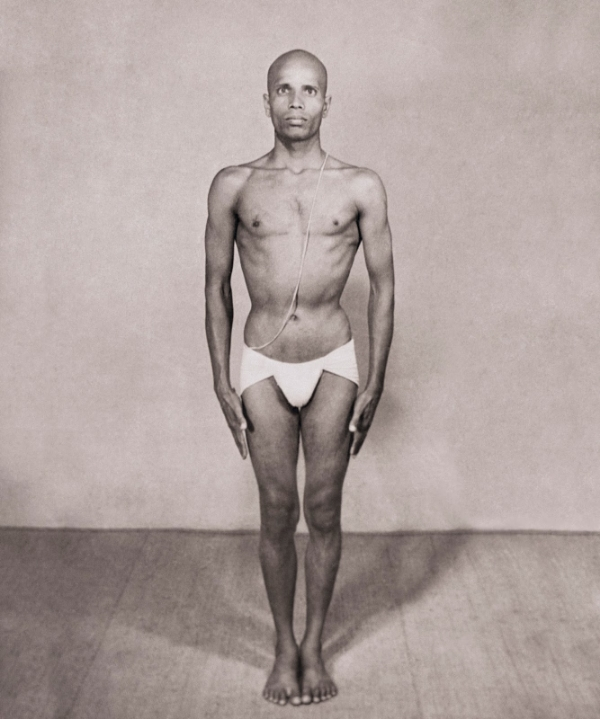 Young Pattabhi Jois in a dhoti