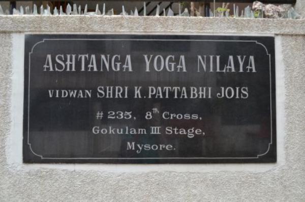 The sign outside of the K. Pattabhi Jois Ashtanga Yoga Institute in Mysore, India
