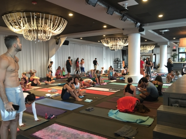 Ashtangis setting up their mats, getting ready to practice. Briza on the Bay, Miami. Sharath Tour 2016