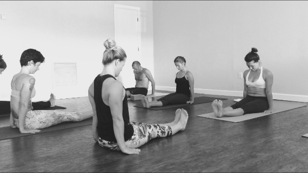 Me with one of my Ashtanga Basics classes. It's wonderful to feel close to my small group of regulars!