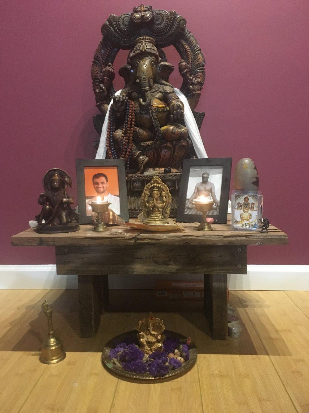 The altar at Ashtanga Yoga Worldwide