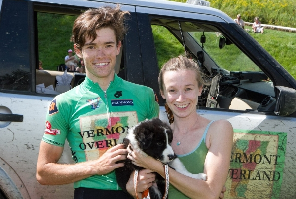 With my boyfriend Ansel and our puppy Banjo after a bike race.