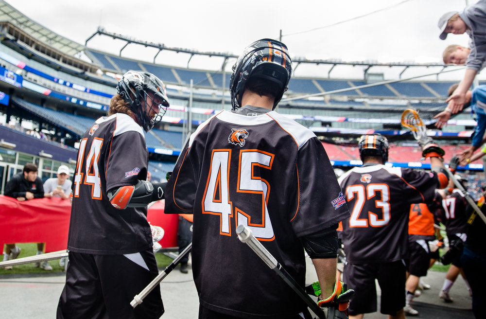Levick (left) and Lee fist-bump before taking the field against Salisbury in the NCAA Championship game at Gillette Stadium.