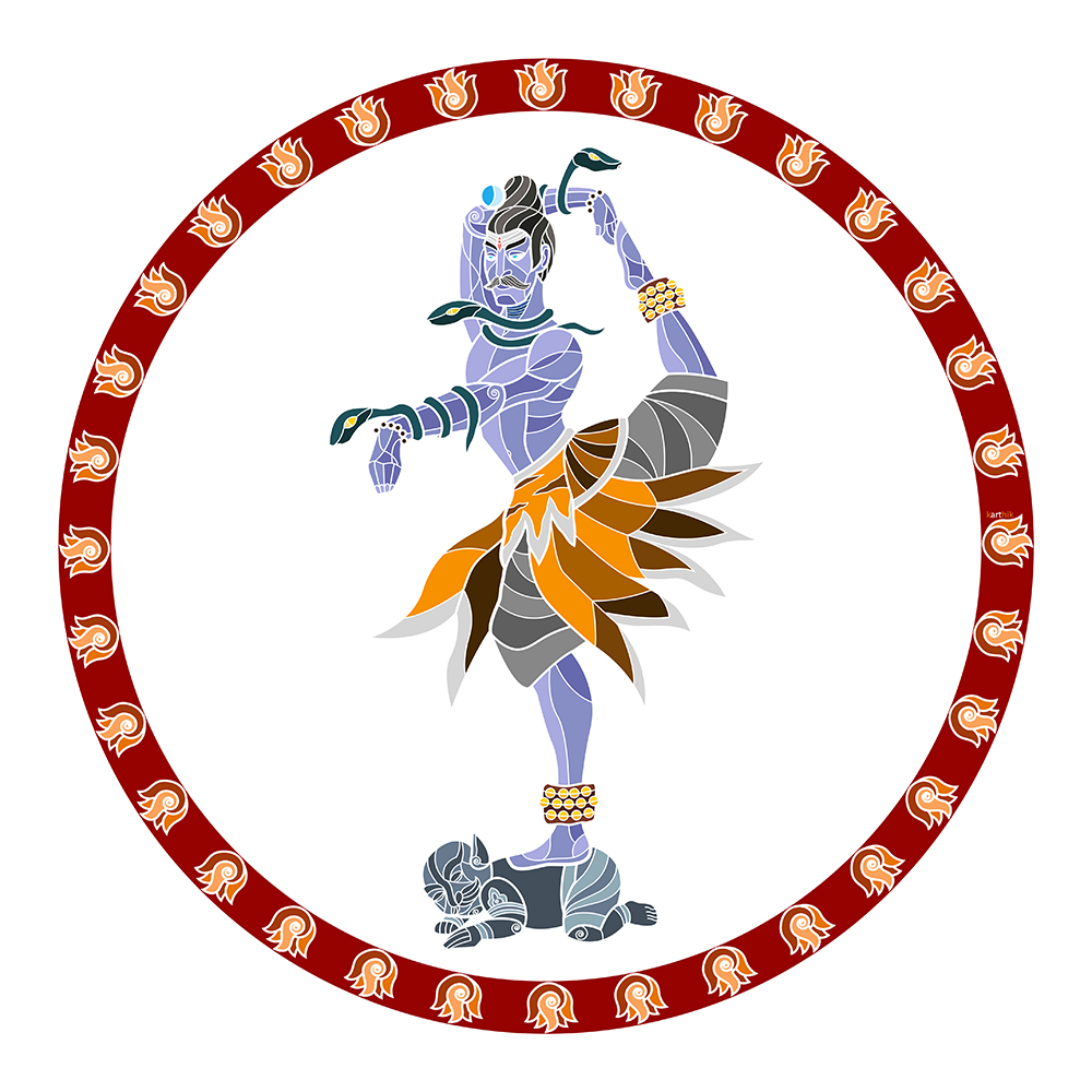 The Lord of Dance  Shiva is often portrayed as Nataraja, the Lord of Dance and the patron deity of the dance form 'Bharatanatyam' . There are many metaphysical interpretations to  two forms of his dance - the  Lasya  which is a gentle form of dance associated with the creation of the universe, and the  Tandava  which is a violent dance associated with the destruction of the universe.   I've seen most depictions of Nataraja in the exact same pose of dance. But since he's supposed to be the Lord of Dance, I felt he ought to have a bit more variety in his repertoire, hence my decision to depict him in a different pose, covered in swirling snakes and tiger-skins and dancing atop a demon.