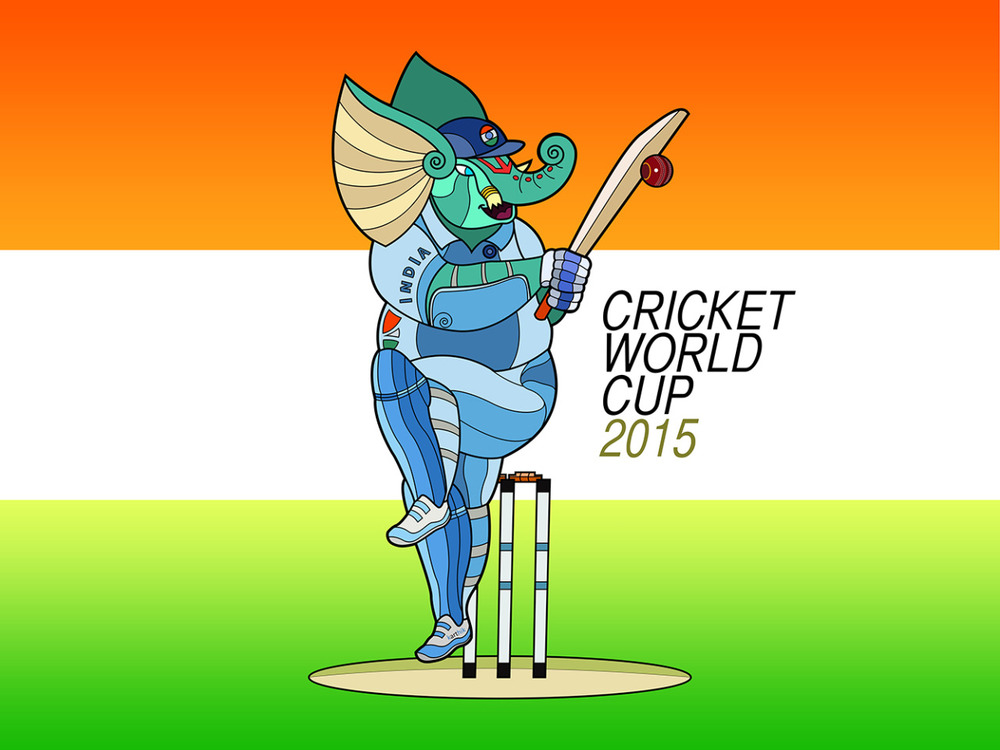 Ganesha plays for Team India at the Cricket World Cup 2015 :-)  With Team India playing reasonably well so far, this seemed reasonably appropriate. Maybe I'll draw a new one if they reach the Semis or Finals.