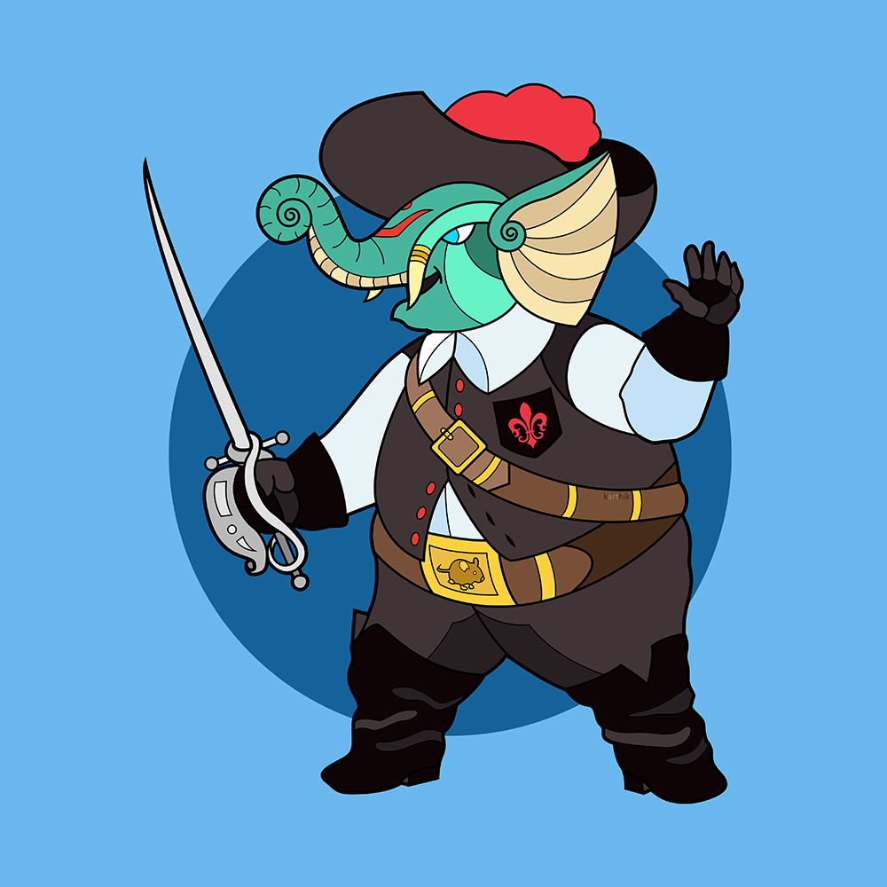 Ever since I saw the Three Musketeers by Disney, featuring Donald, Micky and Goofy as the titular characters, I was imagining Ganesha as a swashbuckling adventuring Musketeer himself.  The characters of Athos, Porthos, Aramis and d'Artagnan are uniquely identified by their colors in a variety of popular media with Blue, Green, Yellow and Red respectively.  I decided to keep this design fairly simple, with an off-white shirt and black pants and vest with black boots to match. Topping it off was a bright red plume on his hat (for d'Artagnan), a bright red fleur-de-lis on his vest pocket and a golden mouse relief on his belt buckle. In his sword hand, he brandishes a fine rapier, ready to challenge his enemies to a duel.