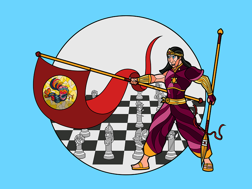 The Rooster Banner  After various refinements to Karthikeya's armor and weapons, I realized that there was one more thing that he carried into battles. He rallied his heavenly troops behind the banner of the Rooster. The story goes that Karthikeya defeated the evil demon Surapadman and used half of the demon's life to create this banner (the other half becoming the peacock that carries him around). The rooster I suppose became a representation of battle because they are associated with rooster fighting sports as well as shown as enemies of snakes (which represent evil I guess?).   For the banner's design, I kept it close to the orange/red color scheme of his spear. I considered inverting the color scheme but decided that a red banner on a gold staff looked better than a gold banner on a red staff. The Rooster itself is a simple jigsaw puzzle like design with colorful plumage and one foot raised, as if it's ready to march into battle.    I also considered making the banner into a sort of weapon, but decided that there was already too much going on with with it and it might be a bit too distracting and dropped that idea.    Lastly, since Karthikeya is the General of the Heavenly Army, I decided to show his army in the background in the form of white chess pieces (based on my previous design of Ganesha and Karthikeya playing chess for the divine mango)