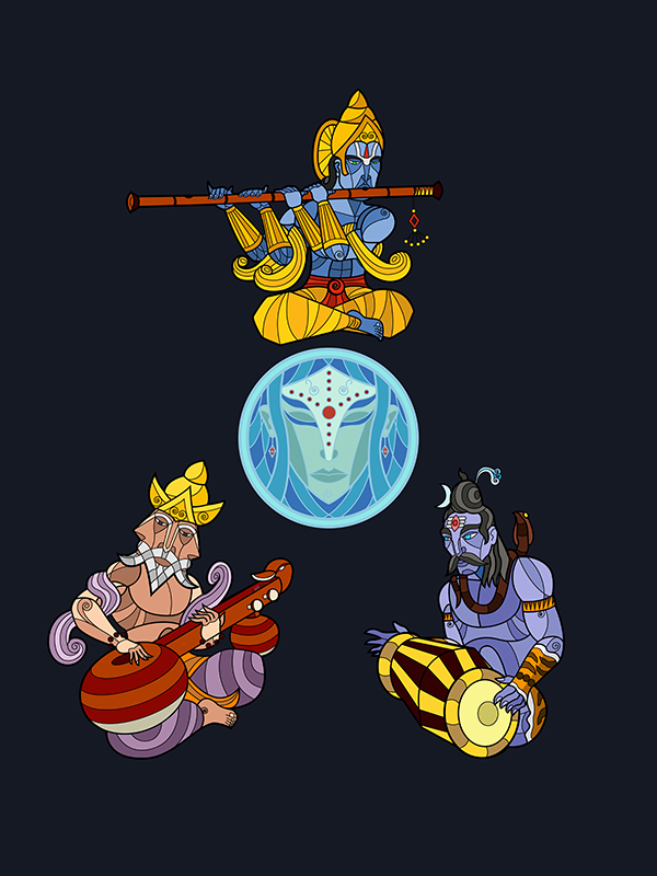 So the other day my mom tells me that she saw a painting of the Musical Trinity. I immediately envisioned Brahma/Vishnu/Shiva playing musical instruments. Then she clarified that she was referring to the 'Musical' trinity of Karnatic Music - Tyagaraja, Muthuswamy Dikshidhar and Shyama Sastri.      But the idea of a Musical 'Trinity' had already started playing in my head. So here's my representation of Brahma playing the Veena, Vishnu on the flute and Shiva with the Mridangam, creating a musical harmony for the creation, preservation and dissolution of the world.      In some ways, I suppose it parallels the 'Music of the Ainur' from the Silmarillion.
