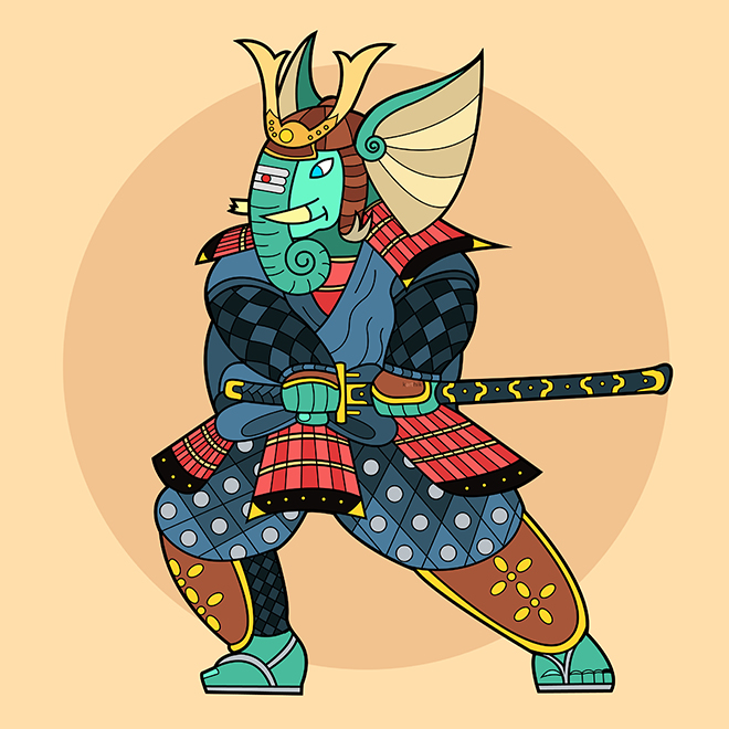 This is one of those pieces that sprung out of the wackiest parts of my imagination, Ganesha as a Samurai Shogun! After I thought of this I just had to get this out of my head, hence the result.