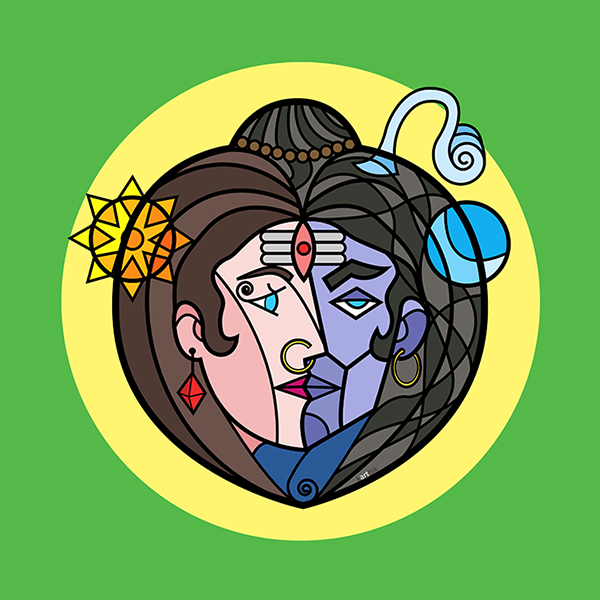"I remember seeing an image of Ardhanareeshwara, a deity composed of half-Shiva and half-Parvati which are perfectly bisected down the center and I thought to myself, ""this is pretty cool, but can I do something different with this? Can i arrange it in a different way and still create the illusion of it being two faces in one?"" This is the outcome."