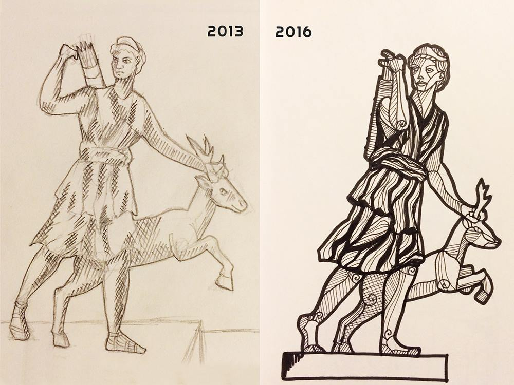 "On the left, my first <terrible> attempt at drawing a sculpture of ""Diana the Huntress"" from the Paris Louvre Museum way back in 2013. On the right, I present to you my second attempt at drawing it after a serendipitous encounter with a copy of the same statue at the Plaster Cast Museum in Berlin!"