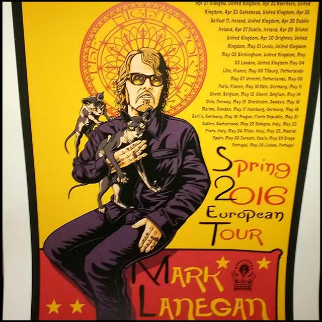 Sweet Justin Hampton poster for Lanegans' European Tour last month. #MarkLaneganTour2016poster, #JustinHamptonArt,