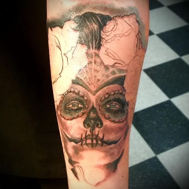 Fun, second sitting on Muerta piece. #abouttimetattoo, #nashuatattooshop, #kevinbuckstruptattoos, #dayofthedeadtattoo,