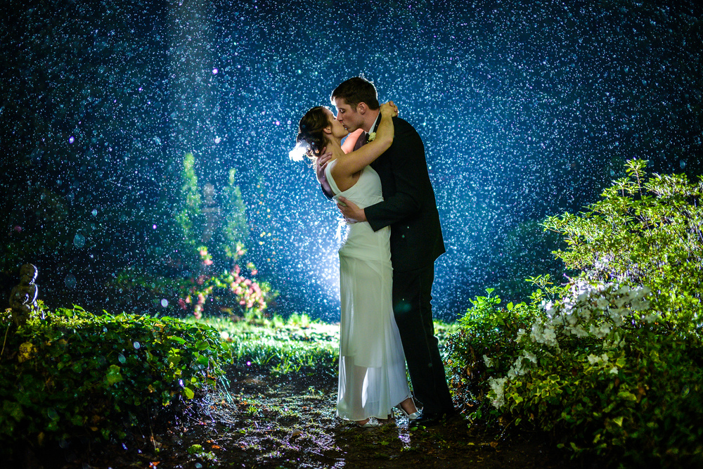 Using a light behind Claire & Rob to capture the rain in the background lends a hand to this shot.