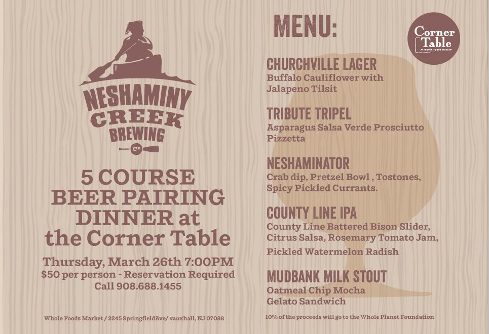Neshaminy Beer Dinner Event Flyer