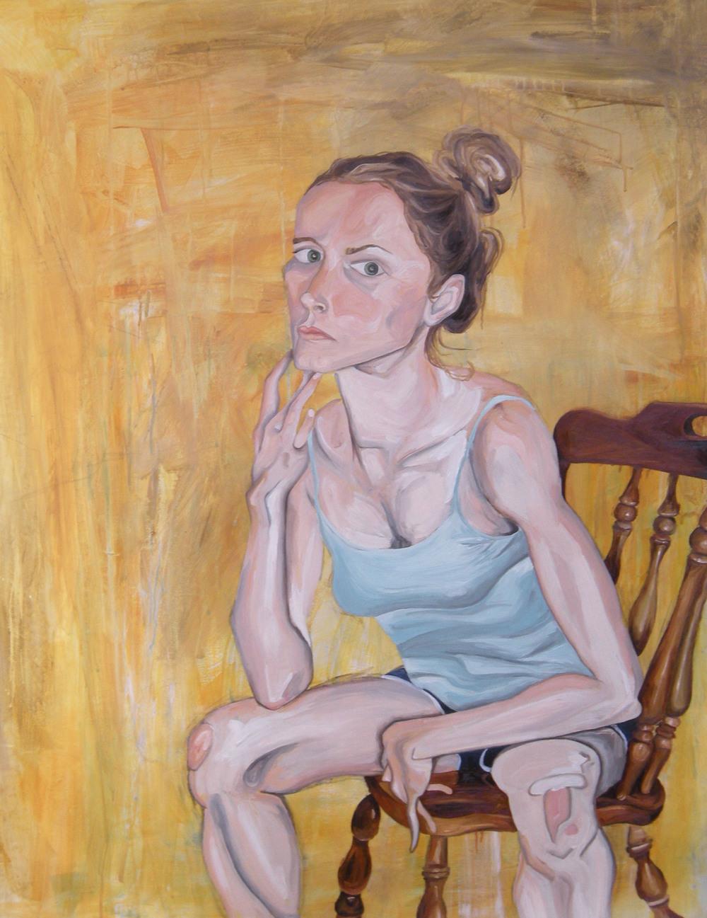 Self Portrait on Yellow_2010_oil on paper_36inx48in.jpg