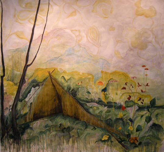Tent in Woods_2012_oil on paper_72inx66in.jpg