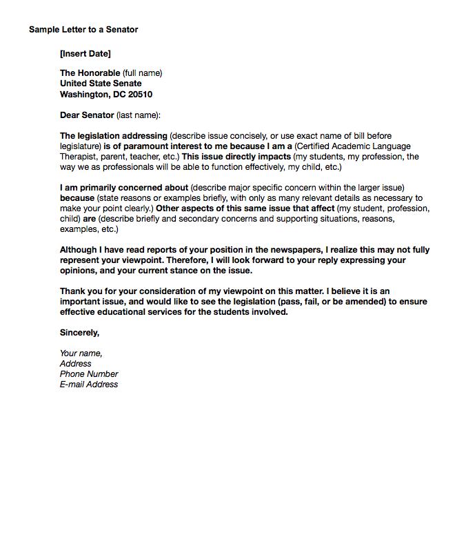 Senator Letter Template VALUEUSA - Letter to senator template