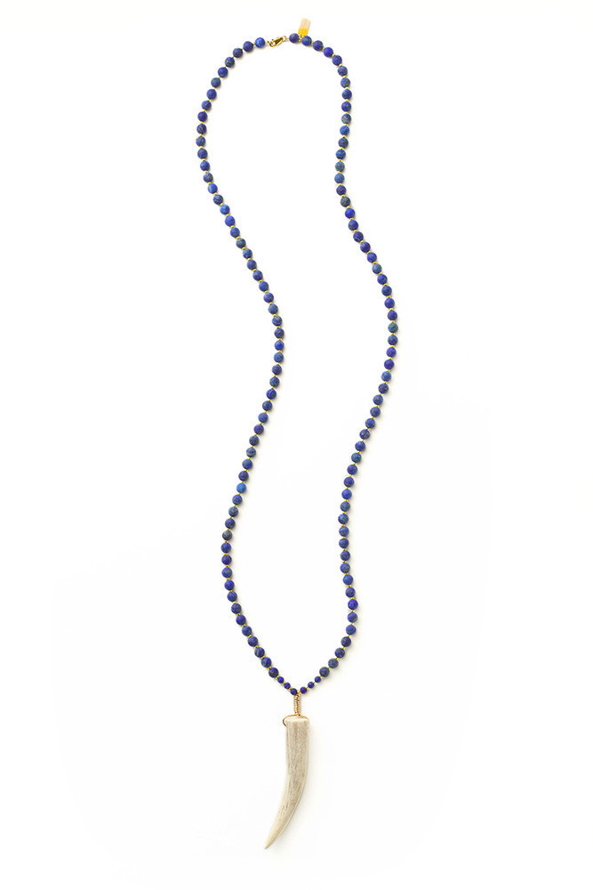Full Lapis Antler Necklace $150