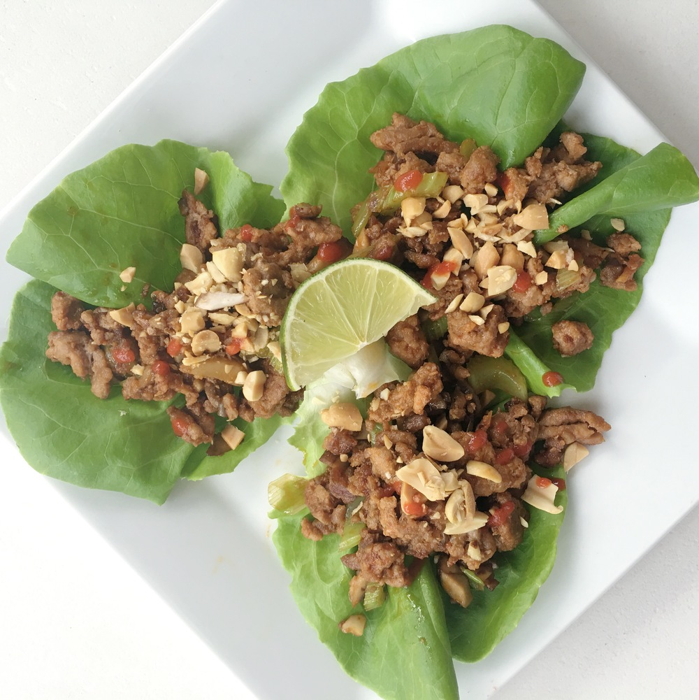 ASIAN PEANUT TURKEY LETTUCE WRAPS