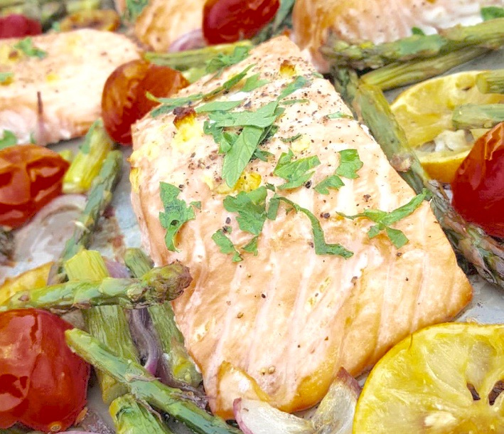 Roasted Lemon Salmon +Asparagus &Tomatoes photo | clean food crush