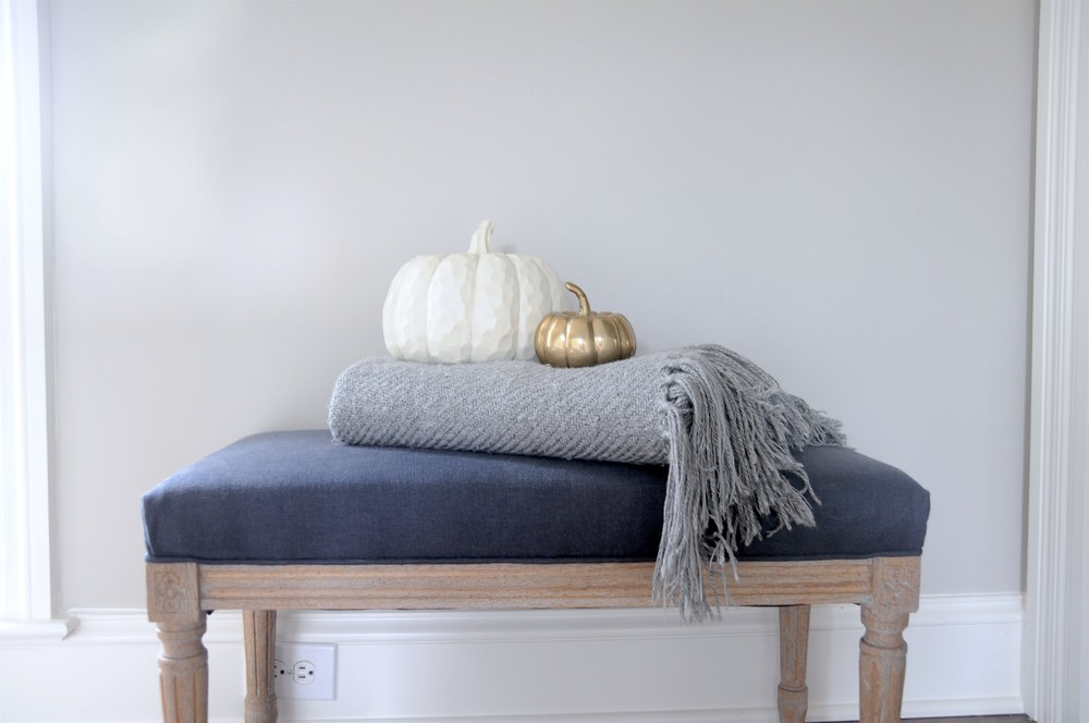 Navy bench- Safavieh + grey throw $24.99 + cream wood pumpkin $7.99 + brass pumpkin $5.99- Marshalls