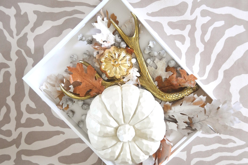 Brass antler $9.99 Marshalls + gold pumpkin, set of 4 Marshallls + cream wood pumpkin $7.99 + leaves, Michaels