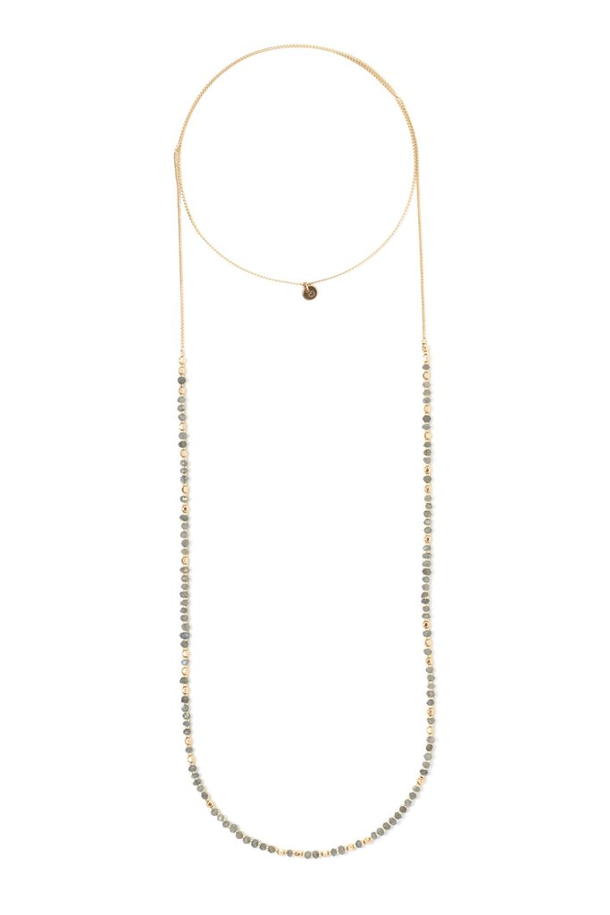 FACETED LABRADORITE + GOLD DELICATE WRAP LAYERING NECKLACE $ 110.00