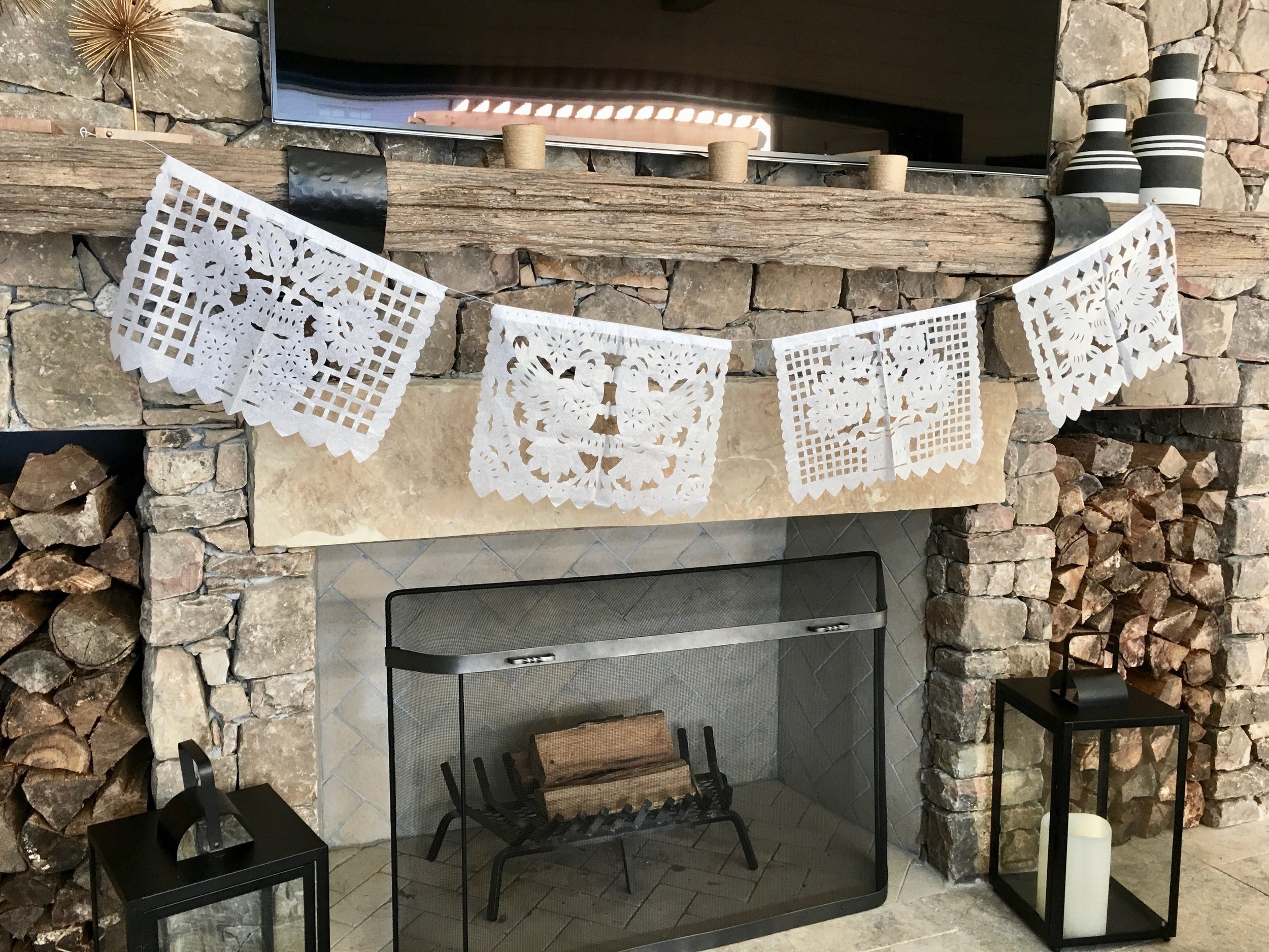 Chic Mexican Fiesta White Paper Banner over Mantle