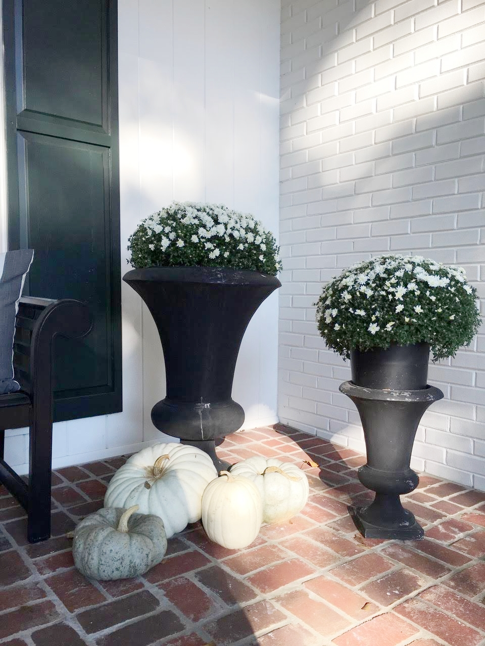 Fall Front Porch Decorations, white mums in black planters with white, gray and green pumpkins