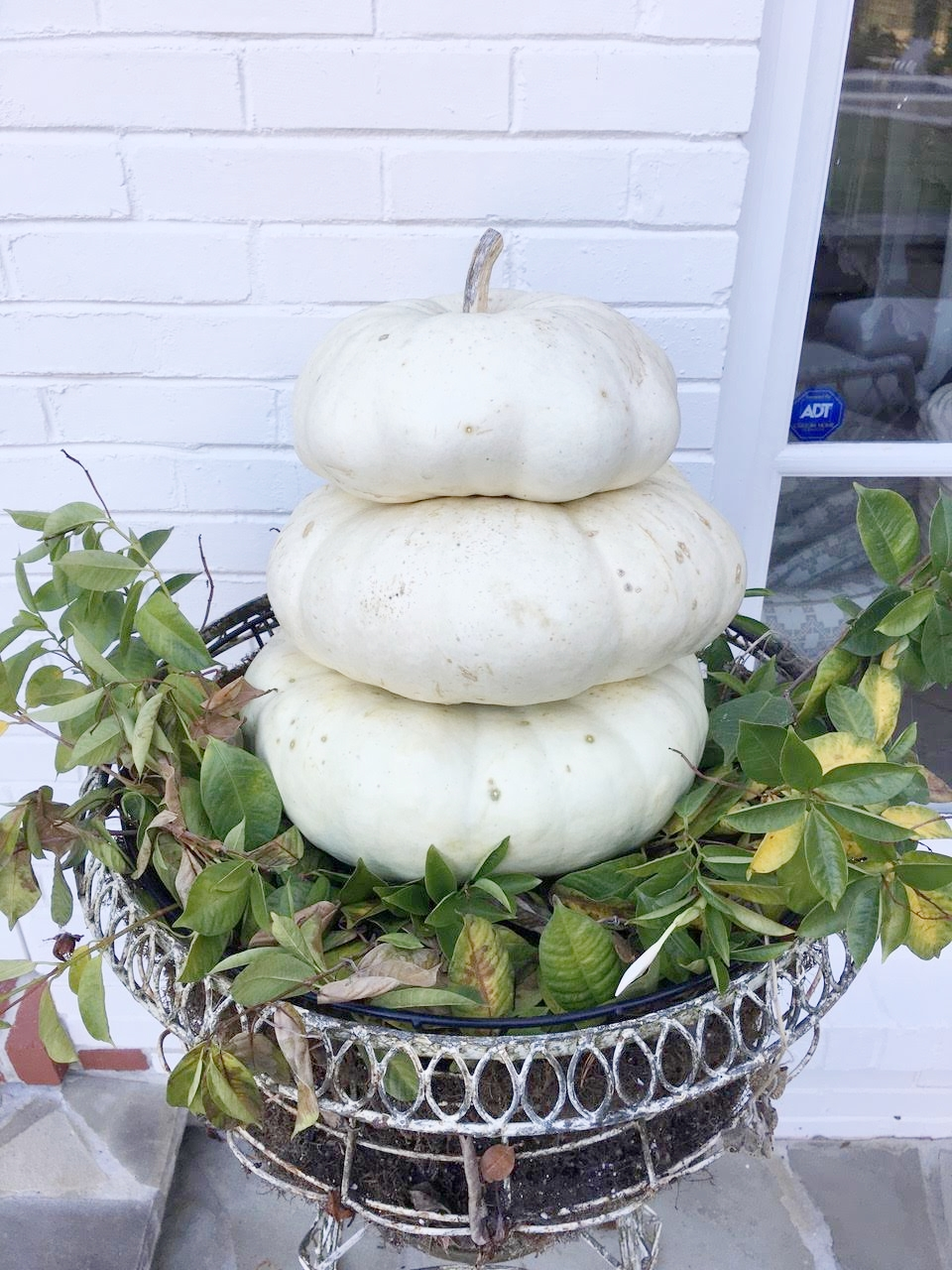 Fall Porch Decorations White Pumpkin Topiary