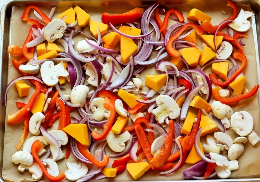 red pepper + mushroom + purple onion + butternut squash
