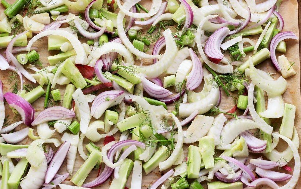 fennel + purple onion + scallions + celery