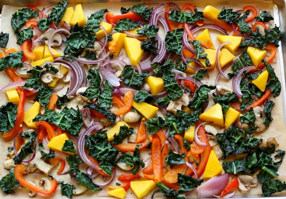 kale + red pepper + purple onion + mushroom + butternut squash + mushroom + garlic