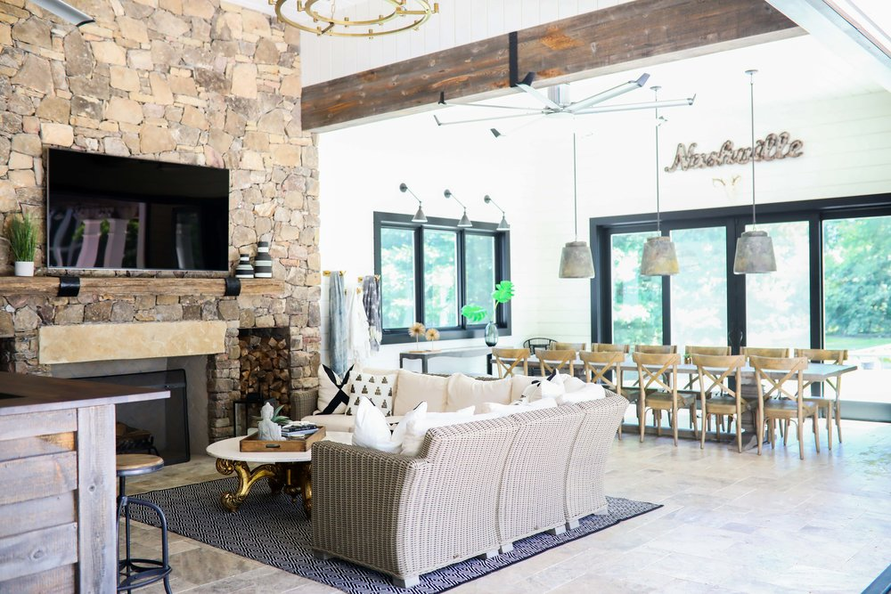 Pool house furniture Swimming Pool Entertaining Was One Of The Main Purposes Of This Space So We Wanted To Make Sure We Had Plenty Of Eating And Seating Space Almost All The Furniture In Living With Landyn Poolhouse Tour Living With Landyn