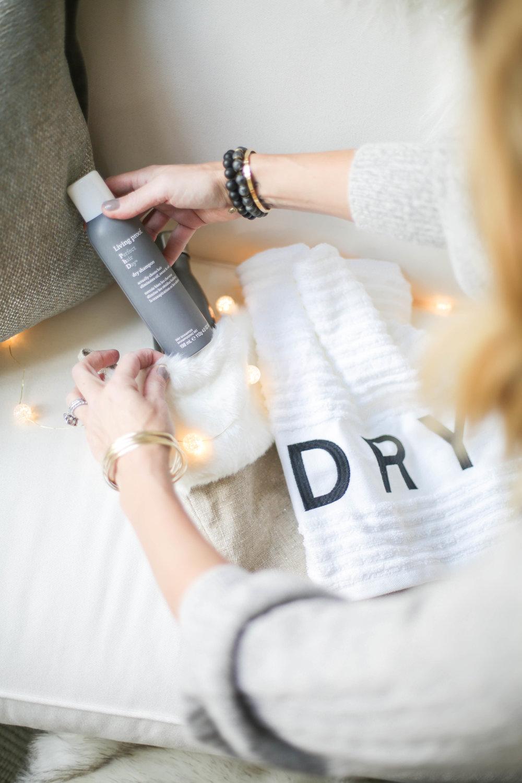 putting dry shampoo in stocking.jpg