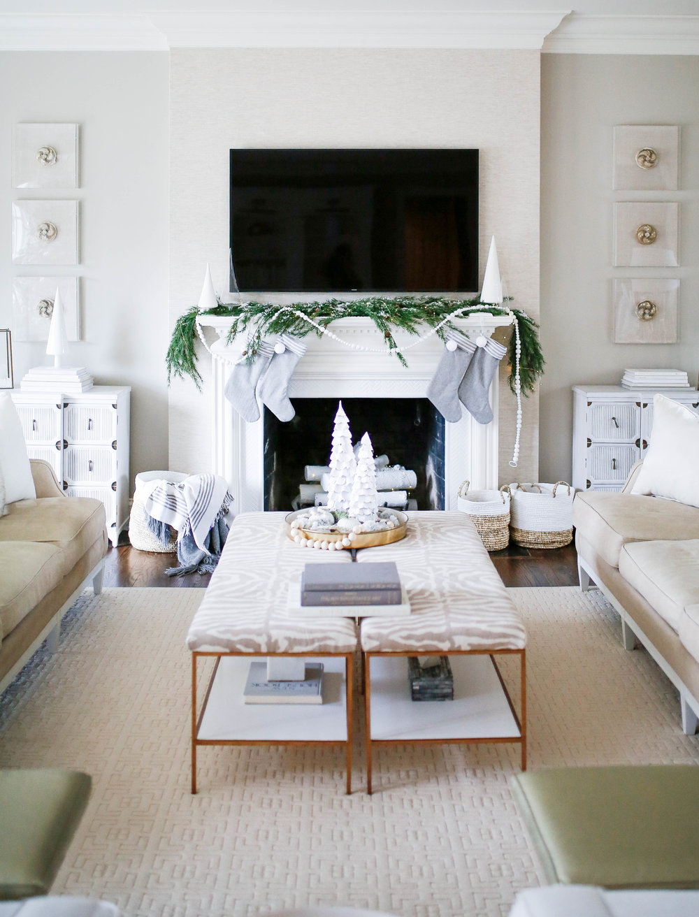 Gray and White Modern Christmas Mantle