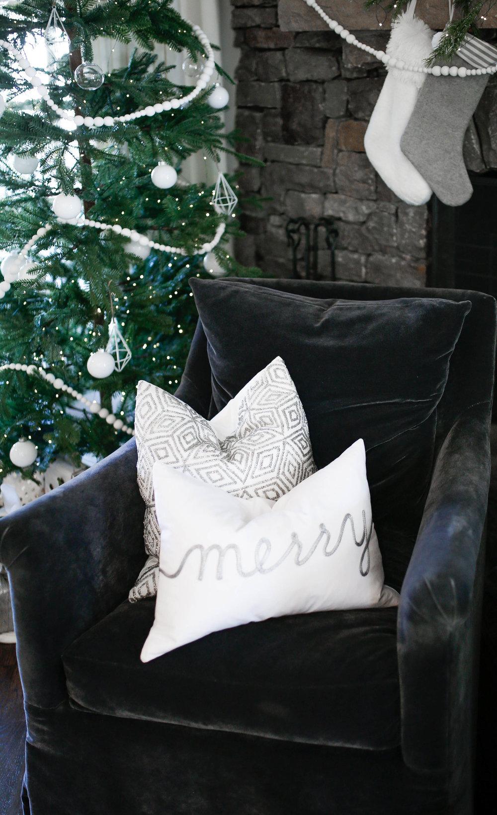 merry pillow in kitchen chair.jpg