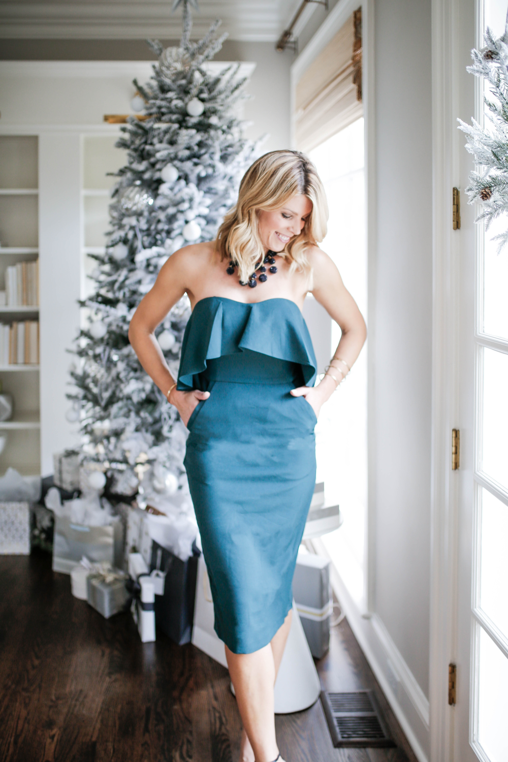 Green Strapless dress, what to wear to a holiday work party