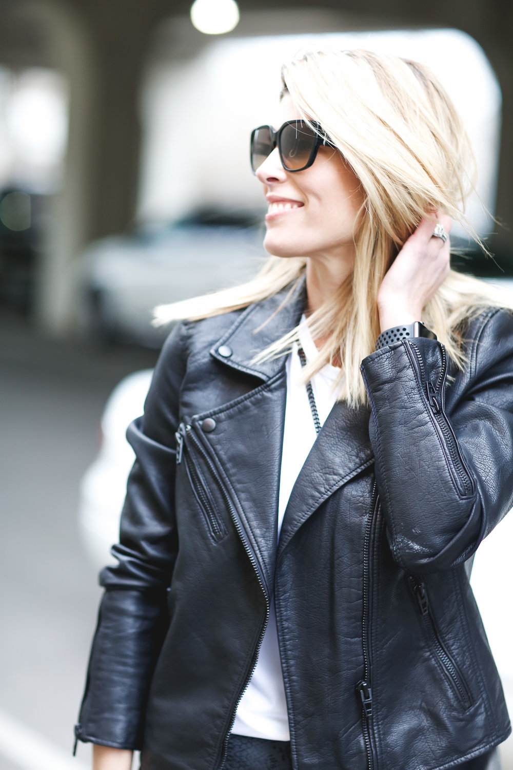 wear a leather jacket over your athleisure