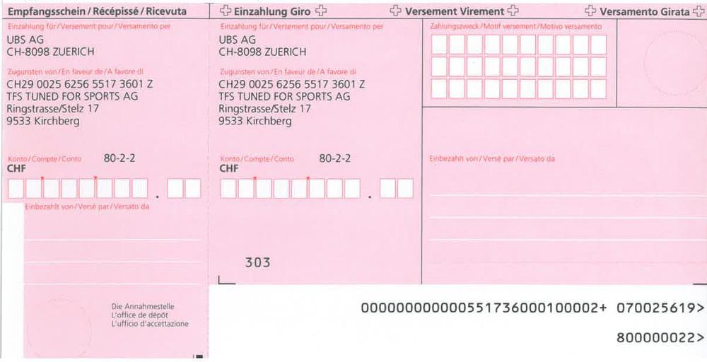 IBAN CH29 0025 6256 5517 3601 Z