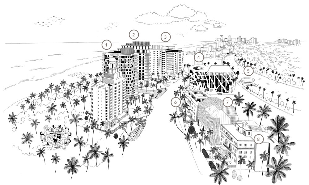 1 -Faena Mar Brandon Haw Architecture  2 -Faena House Foster + Partners Brandon Haw  3 -Faena Hotel Miami Beach Bazmark Baz Luhrmann & Catherine Martin  4 -Faena Forum Rem Koolhaas/OMA Shohei Shigematsu/OMA  5-6-7 -Marina / Bazaar / Park Rem Koolhaas/OMA Shohei Shigematsu/OMA  8 -Casa Faena