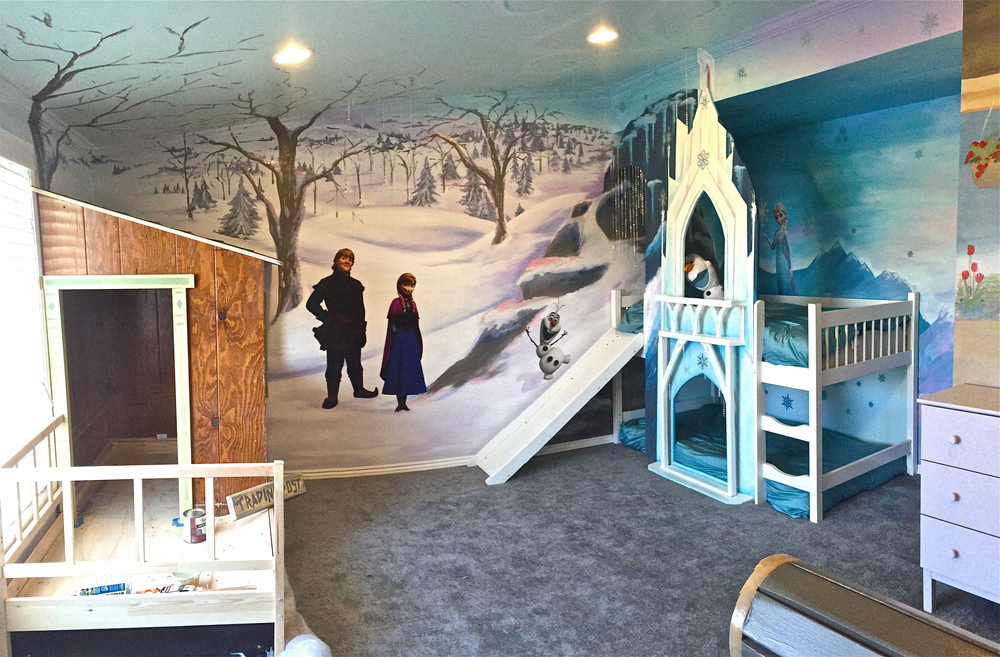 Disney FROZEN Inspired Playspace/Bunk Beds/Mural with Disney licensed decals