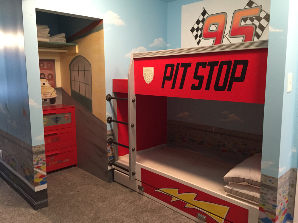 Disney CARS Inspired Speedway with Bunk Beds and Disney Licensed decals